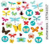 butterflies and ladybugs | Shutterstock .eps vector #257561017
