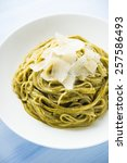 pasta with pesto and parmesan... | Shutterstock . vector #257586493