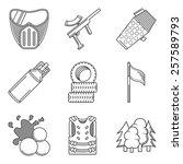 black line icons vector... | Shutterstock .eps vector #257589793