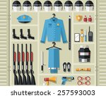 police uniform thin line icons. ... | Shutterstock .eps vector #257593003