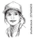 little beautiful girl in cap...   Shutterstock .eps vector #257603653
