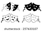 happy and sad theater masks  ... | Shutterstock .eps vector #257633107