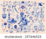 big vector set of hand drawn... | Shutterstock .eps vector #257646523