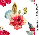 rose  flower  watercolor ... | Shutterstock .eps vector #257659867