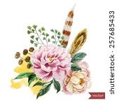 Watercolor  Boho  Flower  Peon...