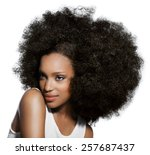 dark skinned young woman... | Shutterstock . vector #257687437