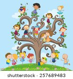 many children on the tree | Shutterstock .eps vector #257689483