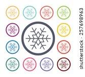 snowflake flat icons set. open... | Shutterstock .eps vector #257698963