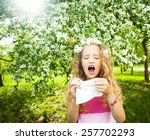 sneezing girl. child with a... | Shutterstock . vector #257702293
