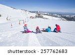 ski slope  children skier | Shutterstock . vector #257762683