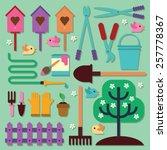spring garden set | Shutterstock .eps vector #257778367