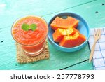 papaya smoothie.   Shutterstock . vector #257778793