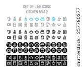 vector kitchen line icons part 2 | Shutterstock .eps vector #257780377