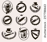 cigars label and icons set.... | Shutterstock .eps vector #257788663