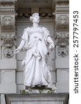 Small photo of GRAZ, AUSTRIA - JANUARY 10, 2015: Statue of Commerce, allegorical representation, detail of Rathaus Town Hall, Graz, Styria, Austria on January 10, 2015.