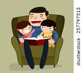 father and kids reading. family ... | Shutterstock .eps vector #257797513