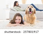 portrait of happy girl with dog ...   Shutterstock . vector #257801917