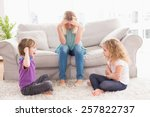 upset woman sitting on sofa... | Shutterstock . vector #257822737