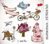 doodle set elements of... | Shutterstock .eps vector #257826763