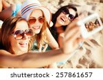 summer holidays  technology and ... | Shutterstock . vector #257861657