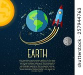 earth banner with sun  moon ... | Shutterstock .eps vector #257944763