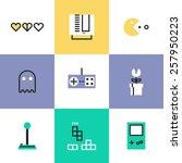 flat line icons of popular... | Shutterstock .eps vector #257950223