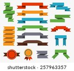 set of colorful retro ribbons.... | Shutterstock .eps vector #257963357