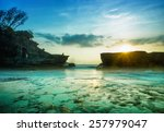 Stock photo bali landmark tanah lot temple in sunset bali island indonesia 257979047