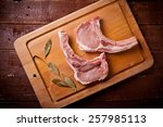 close up of two pork chops with ...   Shutterstock . vector #257985113
