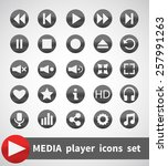 media player vector icons set | Shutterstock .eps vector #257991263