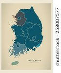 modern map   south korea with... | Shutterstock .eps vector #258007577