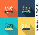 vector set of anniversary... | Shutterstock .eps vector #258008543