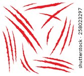 set of claw scratches  isolated ... | Shutterstock .eps vector #258023297