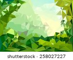 low poly summer day background | Shutterstock .eps vector #258027227