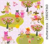 children's spring background... | Shutterstock .eps vector #258029363