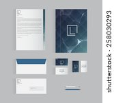 blue stationery template design ... | Shutterstock .eps vector #258030293