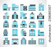 hospital icon set | Shutterstock .eps vector #258085307