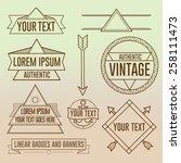 linear hipster badges symbols...   Shutterstock .eps vector #258111473