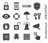 security black icons isolated... | Shutterstock .eps vector #258129587