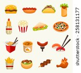 fast food icon set   Shutterstock .eps vector #258131177