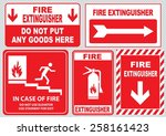 set of fire alarm  fire exit ... | Shutterstock .eps vector #258161423