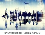 airport travel business people... | Shutterstock . vector #258173477