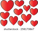 vector drawing heart shapes | Shutterstock .eps vector #258173867