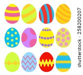 easter eggs colorful set.... | Shutterstock . vector #258200207