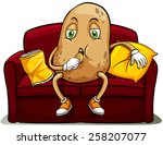 couched potato on a red sofa... | Shutterstock .eps vector #258207077