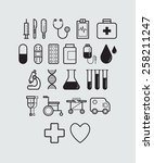 22 medical icons | Shutterstock .eps vector #258211247