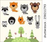 forest animals set. vector... | Shutterstock .eps vector #258211793