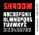 shadow font  alphabet and... | Shutterstock .eps vector #258214193