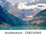 lake louise  alberta   august 1 ... | Shutterstock . vector #258214343