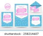 wedding invitation cards set... | Shutterstock .eps vector #258214607